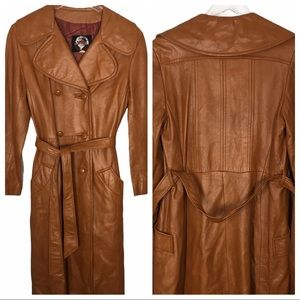 VTG 70's Cognac Camel Long Leather Trench 12 M/L